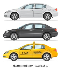 Set of vector business sedan and taxi. Black and White and Yellow colors. Side view isolated on white background. Photo realism