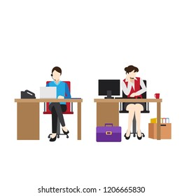 Set of Vector Business Woman