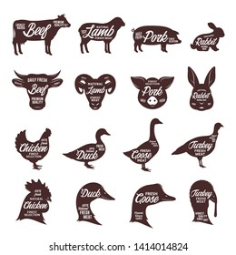Set of vector butcher shop logo. Farm animal silhouettes and faces collection for groceries, meat stores, butcheries, packaging and advertising.