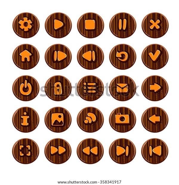 Set Vector Button Game Design Mobile Stock Vector (Royalty