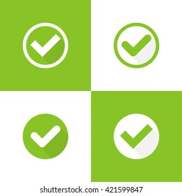 Set of vector buttons with check marks or ticks. checkbox.