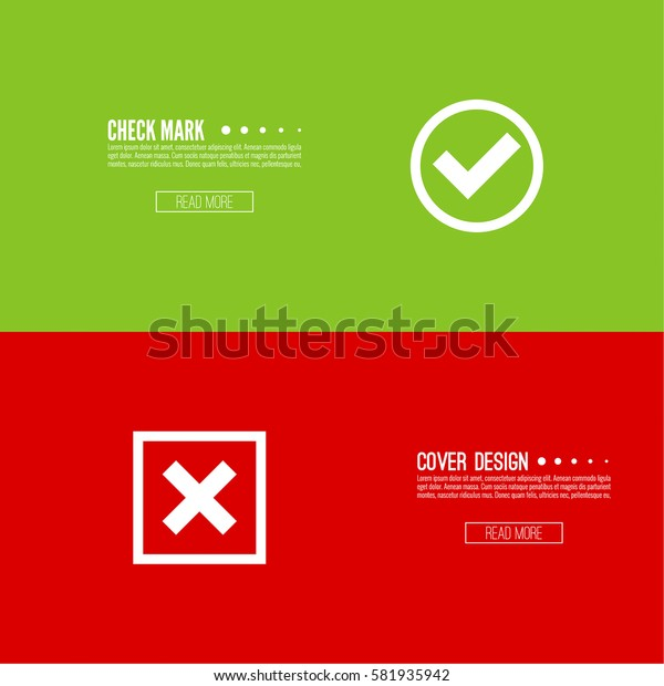 Set of vector buttons with check marks.