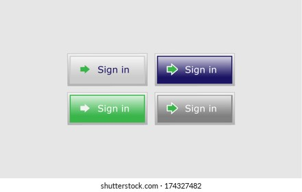 Set of vector buttons - Sign in - in four variations