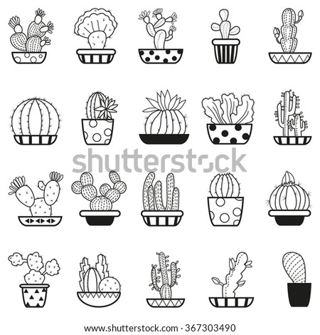 Set Vector Cactus Icons On White Stock Vector Royalty Free
