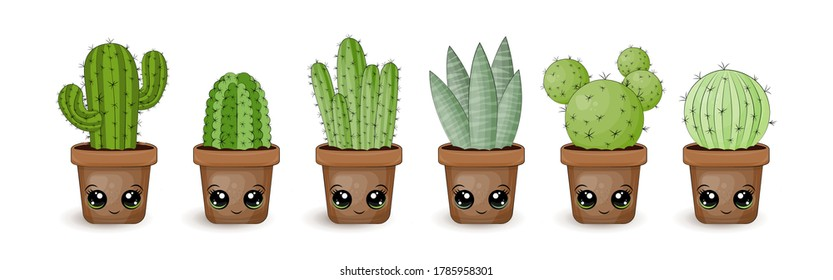 Set of vector cactus in kawaii style. The set has 6 different types of cacti with cute faces. Cartoon plants in which prickly pear, ripsalis, mammillaria are present. Clipart is isolated and has a cup