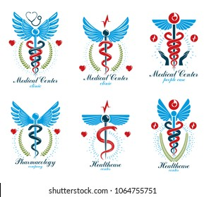 Set of vector Caduceus logotypes can be used in cardiology, rehabilitation and as medical clinic emblems.