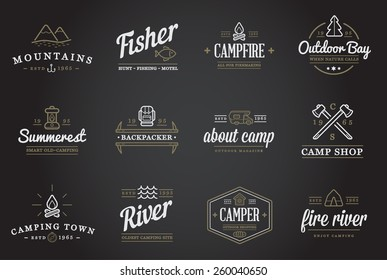Set of Vector Camping Camp Elements and Outdoor Activity Icons Illustration can be used as Logo or Icon in premium quality
