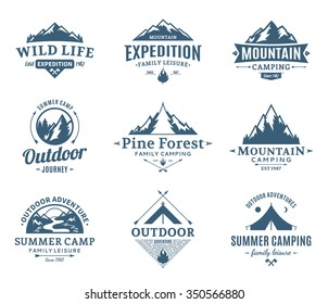 Set of vector camping and outdoor activity logo. Tourism and hiking labels.