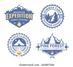Set of vector camping and outdoor activity logo