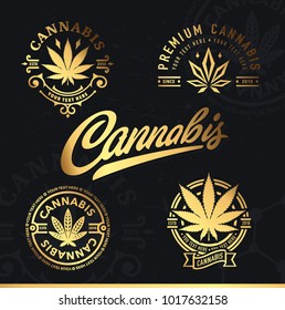 Set of vector cannabis badges. Marijuana gold labels on a black background. Logos.