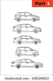 set of vector car models (part 1). Skoda top-down (Skoda Fabia, Rapid, Octavia,Citigo,Superb).