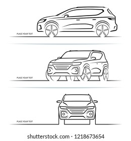 Set of vector car silhouettes, outlines, contours. Front, side and perspective view of SUV vehicle
