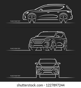 Set of vector car silhouettes, outlines, contours. Front, side and three-quarter view of SUV vehicle