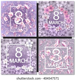 Set of Vector card for 8 march. International Women Day. Floral frame with crocuses and  snowdrops. Purple background