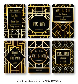 4f1bb5ceea3 Set of vector card templates in art deco style. Ideal for Save The Date