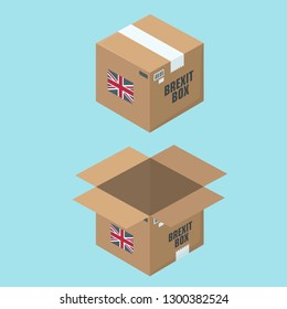 Set of Vector Cardboard Box Icon. On the box is the flag of Britain and the text: Brexit Box. The parcel box is open and closed. Boxes in flat minimalism isometric style.
