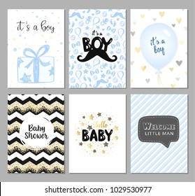 Set of vector cards for baby shower. It's a boy cards, posters. Hello baby. Blue gift, balloon. Vector greeting cards for baby boy.