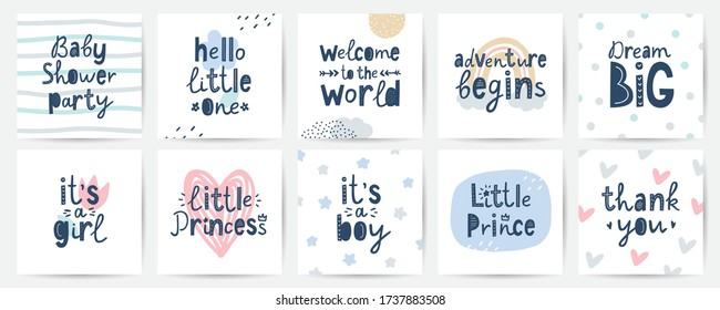 set of vector cards for baby shower party, hand lettering in scandinavian style