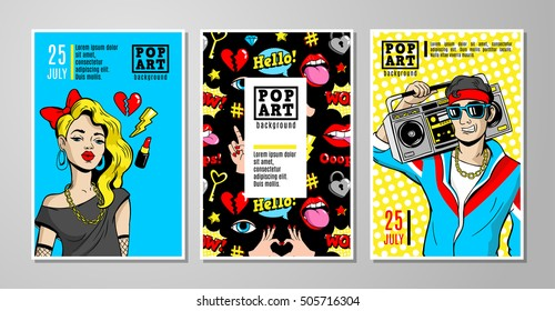 Set of vector cards and banners in 80s-90s pop-art comic style. Can be used in cover design, book design, CD cover, advertising, posters and greeting cards.