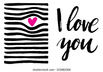 Set of vector cards with a hand drawn heart and I love you lettering.