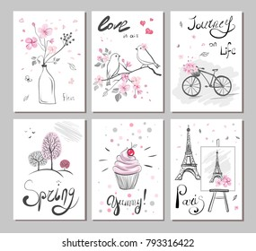 set vector cards with hand drawn illustration. Sticker with eiffel tower, bird, hearts, tree, bicycle, spring flowers and cake. Cute Pink print. Lettering - Paris