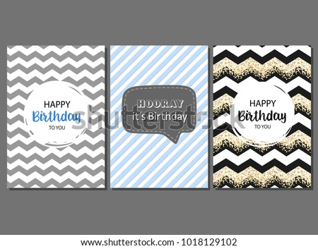 Set Of Vector Cards For Man Birthday Greeting Invitation Happy