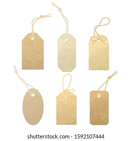 Set of vector carton labels with various linen string tying. Tags tied with knots and bows of realistic, detailed linen thread material.