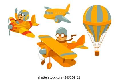 Set of vector cartoon aircraft with funny pilots