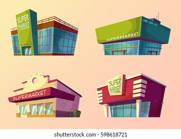 Set of vector cartoon buildings of modern supermarkets and old shops