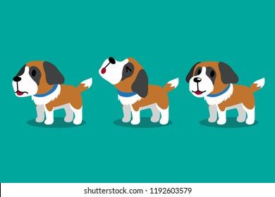 Set of vector cartoon character cute saint bernard dog poses for design.