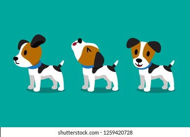 Set of vector cartoon character cute jack russell terrier dog poses for design.