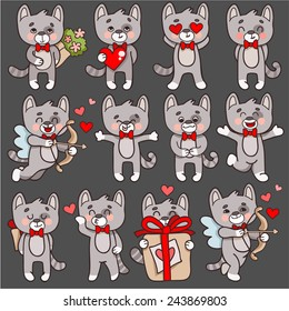 Set of vector cartoon characters cats in love theme. Cupid with a bow cat, a cat with a heart, a cat with a bouquet of flowers, a cat hugs.