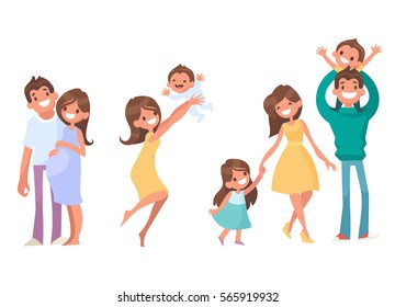 Set of vector cartoon characters. Vector illustration in a flat style. The stages of development of the family. Pregnant Women, birth of children. Father keep son in his arms.