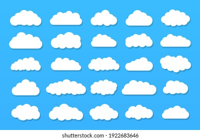 Set of vector cartoon clouds on a blue background.