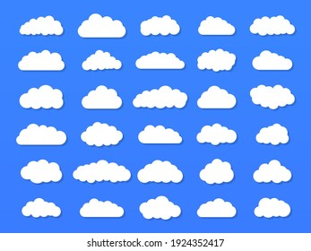 Set of vector cartoon clouds on a blue background. Set of sky.