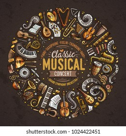 Set of vector cartoon doodle classic musical instruments and objects collected in a circle border. Classical music card design