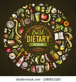 Set of vector cartoon doodle Diet food objects collected in a round border. Dietic card design