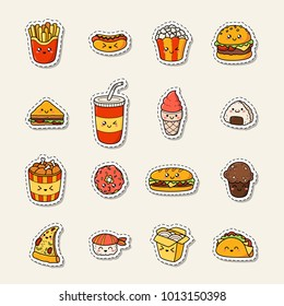 Set of vector cartoon doodle icons junk food. Illustration of comic fast food. Patch, badge
