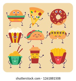 Set of vector cartoon doodle icons junk food.Fast food set cute characters face vector illustration Funny emoji concept