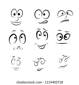 Set of vector cartoon emotional faces
