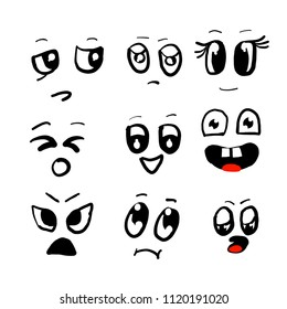 Set of Vector cartoon faces with different emotions