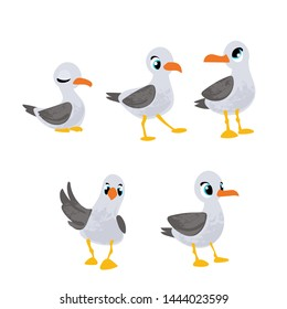 Set vector cartoon gull in children's style. Vector illustration in children's style, for children's books, posters, stickers or room decor