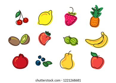 Set of vector cartoon icons - fruits and berries on white backgraund