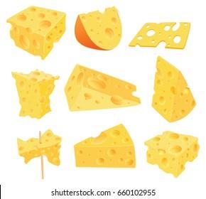 Set of Vector Cartoon Illustration. Cheese Clip Art for you Design