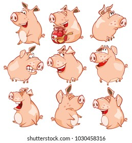 Set of Vector Cartoon Illustration. Cute Pigs in Different Poses for you Design. Cartoon Character