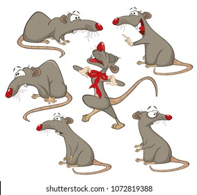 Set of Vector Cartoon Illustration. A Cute Mice for you Design