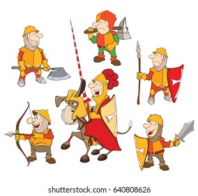 Set of Vector Cartoon Illustration. A Cute Knights for you Design