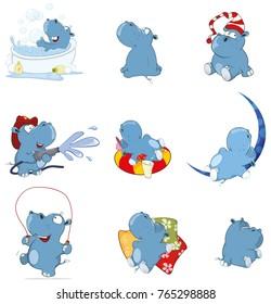 Set of Vector Cartoon Illustration. Cute Hippo for you Design