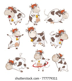 Set of Vector Cartoon Illustration. A Cute Cow for you Design