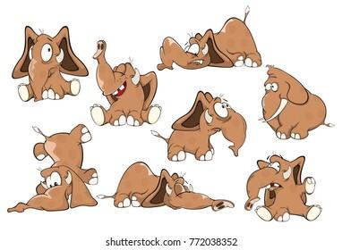 Set of Vector Cartoon Illustration  Elephants for you Design